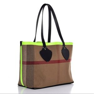 Burberry Bags - Burberry LG Canvas Neon Trim Reversible Tote